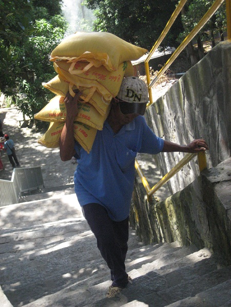 Cơ cực nghề cõng khổ lên non đá